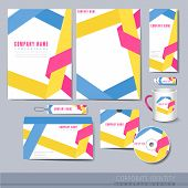 Origami Folded Lines Background Design For Corporate Identity Set