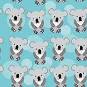 Koala Seamless Pattern With Funny Cute Animal On A Blue Background