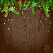 Holiday wood background and christmas tree. Christmas design with place for text