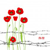 Card with poppies and barbed wire. Vector illustration with place for text.