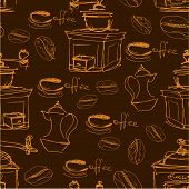 Seamless Pattern With Handdrawn Coffee Cups, Beans, Grinder, Coffee Pot, Calligraphic Text Coffee. B