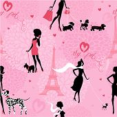 stock photo of poodle  - Seamless pattern with black silhouettes of fashionable girls with their pets  - JPG
