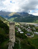 Famous Tribal Fortified Tower In Mestia,upper Svanetia, Georgia, Caucasus Mountains, Unesco Heritage