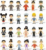 Group of chinese happy cartoon people