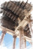 art watercolor background isolated on white basis with european antique town, Italy, Rome. Details arcade of Pantheon