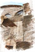 art watercolor background isolated on white basis with european antique town, Italy, Rome. Detail of Pantheon