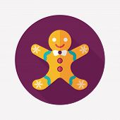 Gingerbread Man Flat Icon With Long Shadow,eps10