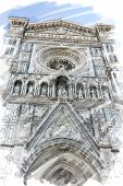 art watercolor background isolated on white basis with european antique town, Italy, Florence, Santa Maria del Fiore