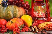 image of kerosene lamp  - Fruits and nuts pumpkins on the table outdoor and kerosene lamp  - JPG