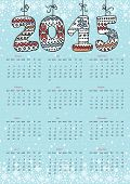 Happy New year 2015 calendar.Knitted figures