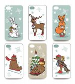 Christmas.Mobile phone cover  back set.Winter animals
