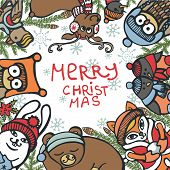 Christmas greeting card.Funny animals,birds,spruce