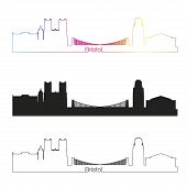 Bristol Skyline Linear Style With Rainbow