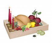 Candles with Christmas Dinner in Wooden Container