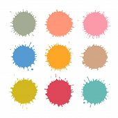 Colorful Vector Stains Blots Splashes Set