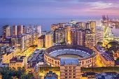 Malaga, Spain cityscape on the Mediterranean Sea.