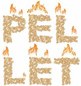Pellet Background With Fire Isolated On White