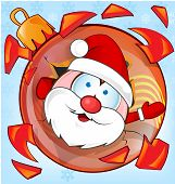 Funny Santa Claus On Christmas Ball  Cartoon