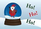 Santa elf in a winter christmas snow globe