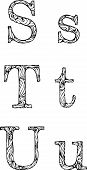 2_black And White Letters S T U With Curly Pattern