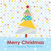 Template Christmas greeting card, vector illustration