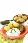Potatoes With Curd, Pickles And Chives