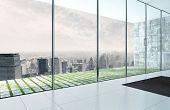 3D Rendering of Empty room interior with fantastic skyline cityscape view