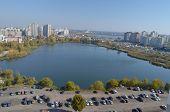 KIEV, UKRAINE - OCT 14, 2014: Modern residential area. A recently built block of apartments .Aerial view.October 14, 2014 Kiev, Ukraine