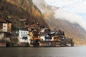 Historic houses at Lake Hallstatt, Alps, Austria