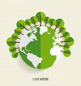 Green Eco Earth, Green earth with trees. Vector Illustration