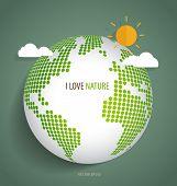 Green Eco Earth. Vector Illustration