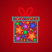 Abstract Vector Gift On Red Background
