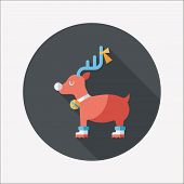 image of rudolph  - Reindeer Flat Icon With Long Shadow - JPG