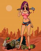 Cartoon Girl With A Sledgehammer Kill Zombie.eps