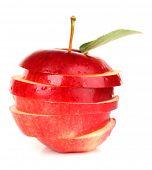 Ripe sliced apple isolated on white