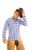 Cowboy Blue Plaid Shirt Hat By Head Smile