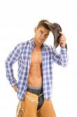 Cowboy Blue Plaid Shirt Look Serious Hold Hat