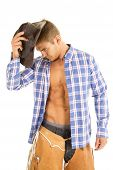 Cowboy Blue Plaid Shirt Look Side Down Hat