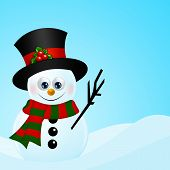 Christmas Snowman In Snow With Place For Text