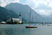 The castle of Schloss Ort in the Traunsee lake