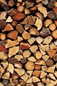 a pile of chopped firewood logs