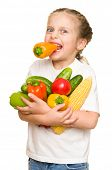 little girl with fruits and vegetables on white