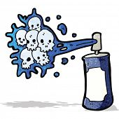 cartoon graffiti skull spray can