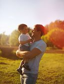 Beautiful Evening Sunset, Happy Father And Son, Summer, Sunny Photo