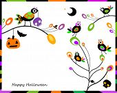 halloween card with happy crows sitting on tree branches