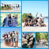 Collage of photos with happy friends on beach