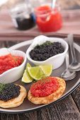 canape, buffet food with caviar