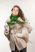 beauty girl winter portrait in studio