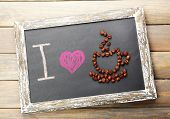 I love coffee written on chalkboard, close-up