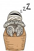 Illustration Featuring a Sleeping Mummy